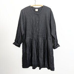 Flax Black Linen Long-Sleeved Lagenlook Dress M